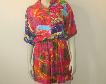1980s Playsuit Romper Tropical Print Size Medium