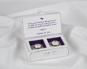 Double Ring Box Wedding Ring Box Personalized Ring Box Ring Bearer Box Purple Ring Box
