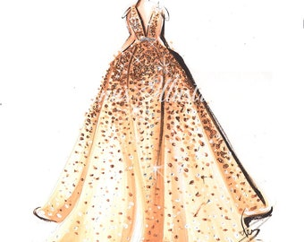 Glitter art, Fashion illustration, Rose Gold wall art, Rose Gold color art, Fashion sketch, Glitter painting, Fashion painting