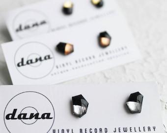 minimalist studs black and silver studs geometric jewelry modern stud earrings vinyl record earrings bold post earrings color block jewelry