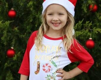 Christmas Shirt for Girl - Holiday Shirt for Girl - Christmas Shirt for Toddler - Christmas Raglan - Christmas Shirt Baby - Joy Shirt Girl