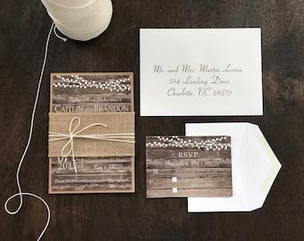 Rustic Wedding Invitation Set, Burlap Wedding Invitation, Country Wedding Invitation, Vintage Wedding Invitation, Barn Wedding Invitation
