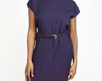 Vintage 1980s Purple High Neck Short Sleeve Belted Midi Sheath Dress