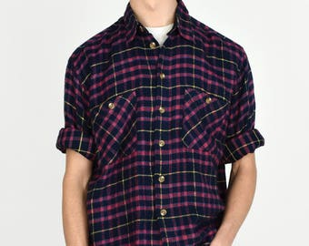 Vintage 1980s Plaid Flannel Button Down Shirt Navy Collared Long Sleeve S.G.A. Men's