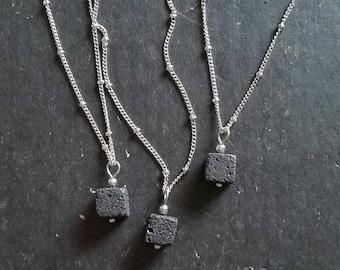 Square Lava Essential Oil Necklace Diffuser --- Lava Cube Rock Aromatherapy Jewelry pendant