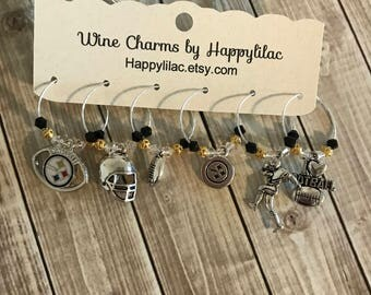 Football Wine Charms, Steelers Wine Charms, Six Wine Charms, Pittsburgh Steelers,Wine Drinker,Beer Drinker,Football, Steelers, 6 Wine Charms