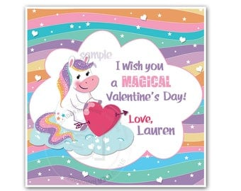 "Valentine's 2.5"" Printable Tags-Happy Valentines Personalized Tags, Magical cute Unicorn Valentine's DIY (You Print) 2.5"" tags-Digital File"