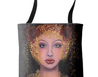 """L.E. Wearable Art Medium Tote Bag """"Danae and the Shower of Gold"""" All over print tote printed painting lady artwork by Deborah Bowe"""
