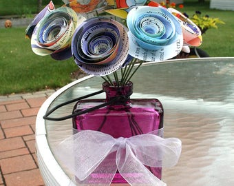 Paper Flower Bouquet, Stemmed Flowers, Set of 10 in Vase, Lavender and Blue, Rolled Roses, Cranberry Vase, Small Centerpiece, Child's Room