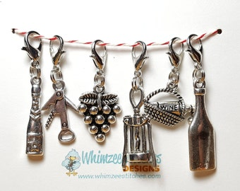 Wine Lovers (Set of 6) Knitting Progress Keepers, Stitch Markers, Progress Markers with 12mm lobster clasp PK0002
