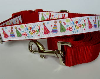 Happy Birthday Party Hat Dog Collar - Red