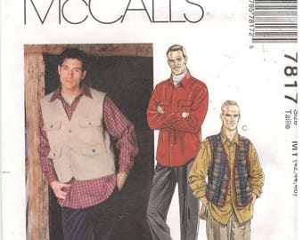 McCall's Size 42, 44, 46, L, XL, XXL  Men's classic Shirt, vest and pants sewing pattern.  Long sleeve shirt with collar, travel vest, pants