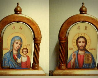 Icon  in kiot handmade hot colors directly on the solid wood   the Lord, the virgin, Saints, inscribed