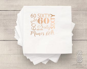 60th Birthday Napkins • Custom Napkins • Birthday Parties • Hot Stamp Foil • Metallic Foil Personalized