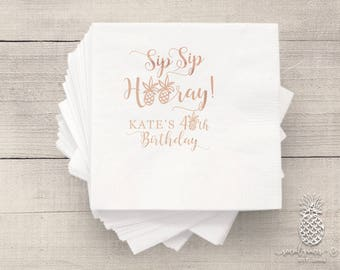 Pineapple Party | Customizable Cocktail Napkins | Birthdays, Weddings, Engagement Bridal Parties and Baby Showers | social graces and Co