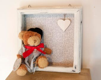 First year frame - New baby frame - Baby boy frame - Baby girl - Baby shower gift - Baby presents Teddy bear - Kids bedroom decor childrens