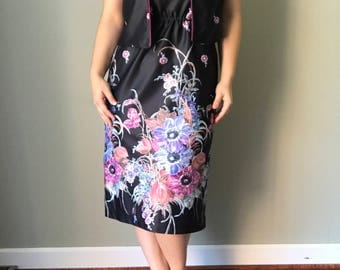 1970s 2-Piece Black Neon Floral Tank Top Dress