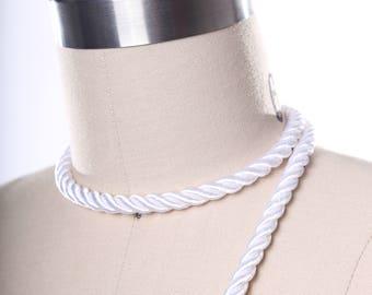White Satin Rope Trim. White Silky Rope Tape/ Satin Rope Tape/ White Satin Cord Trim/ Rope for Curtains