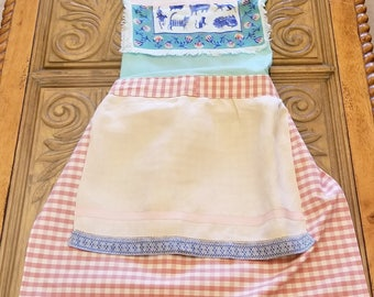 Vintage Linen Cat Bib Pink Check Full Apron, Blue & White, UpCycled, Full Apron, One of a Kind, RePurposed, Ready to Ship, MarjorieMae