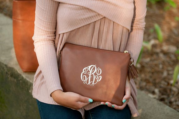 Monogrammed Purse Camel Convertible Purse Tan Crossbody Bag Monogrammed Bag Personalized Gift Bridesmaids Weddings Highway12Designs
