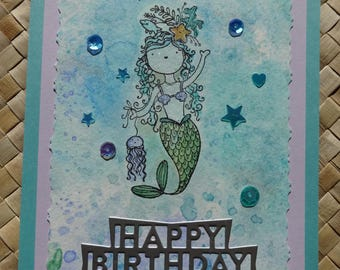 "Ocean birthday card with mermaid: ""Happy Birthday"""