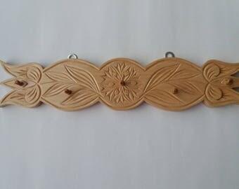 Key hanger key rack hook wooden handcarved , jewelry hanger, new home gift, key wall organizer ,wall key holder , rustic  wood wall hook