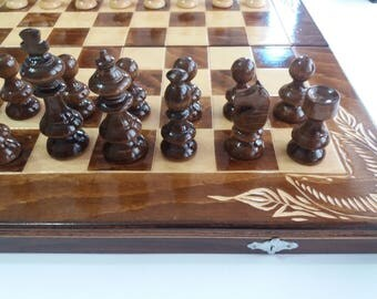 New flower handcarved beech wood 44x44 chessboard box handmade hazel wood chess piece wooden chess set backgammon checkers draughts gift