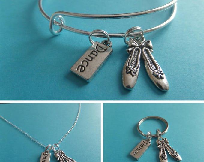 Ballet necklace, dancer gift, shoes novelty gift, ballet jewellery, ballet bangle, xmas gift, love dance, ballerina keyring, sandykissesuk