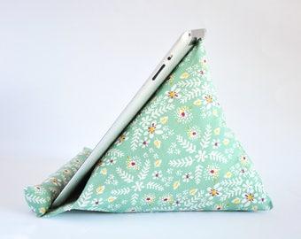 iPad Stand, iPad Holder, iPad Pillow, iPad Cushion, Tablet Stand, Tablet Holder, Tablet Pillow, Tablet Cushion - Green Floral