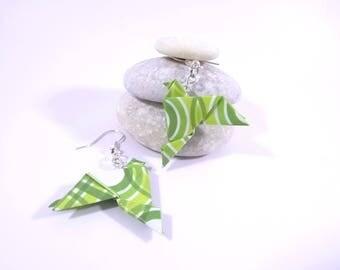 Origami birds green geometric pattern earrings