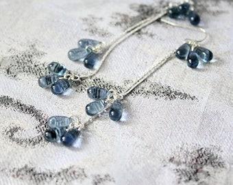 cluster earrings blue-gray jewelry teardrop earrings gift wife sterling silver earrings elegant gift jewelry statement earrings gray пя139