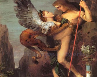 "Gustave Moreau ""Oedipus and the Sphinx"" 1864 Reproduction Digital Print Greek King Greek Mythology"