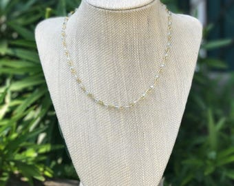 White & Gold Bead Chain Necklace | Rosary Style | Choker Necklace
