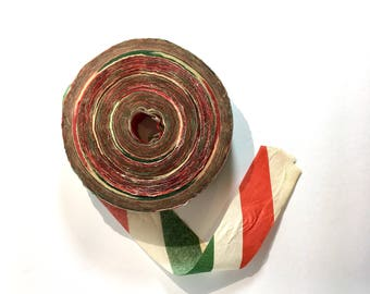 SALE 20% Off Vintage Christmas Crepe Paper Roll Holiday Decoration Party Decor Red Green White
