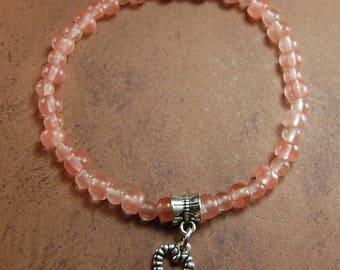 Rose Quartz Stone Stretch Bracelet with Heart Charm