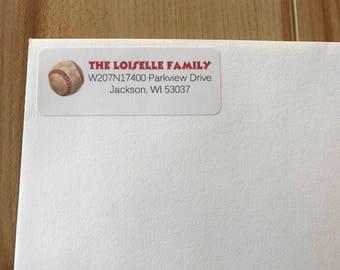 30 Baseball Address Labels, Baseball Return Address Label, Sports Address Labels, Sports Return Address Labels, Birthday Address Labels