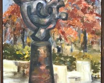 Vintage Signed Original Oil Painting of Jacques Lipchitz Sculpture by Iowa Artist Helen Keller Reppert