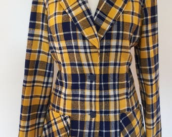 Vintage 70s plaid tartan yellow navy wool fitted jacket size small