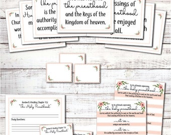 "Gordon B. Hinckley Chapter 15: ""The Holy Priesthood"" Relief Society lesson printables and activity ideas"