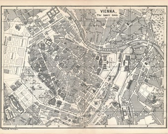 1873 Vienna Austria Antique Map