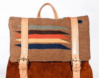 "Unique handmade handwoven cotton & leather LOOM backpack ""Danae"""