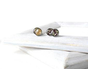 Studs earrings for him birthday gift Green earrings studs gift for him anniversary gift for husband Nature earrings for sensitive ears