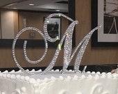 Swarovski Crystal covered Cake Topper for Wedding or Birthday cake,  Bling Cake Letter, Diamond Monogram