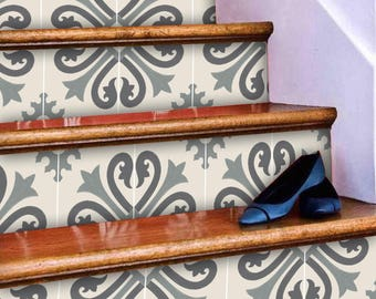 """Stair Riser Stickers - Removable Stair Riser Vinyl Decals - Alhambra Pack of 6 in Thistle - Peel & Stick Stair Riser Deco Strips - 48"""" long"""