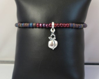 Call Me by Your Name inspired bead bracelet/Elio and Oliver/Japanese Toho beads/Peach charm