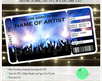 Printable Concert Surprise Ticket Template, Digital PDF File - You Fill and Print