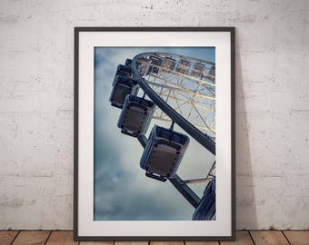 Ferris Wheel Print, Living Room Art Picture of Liverpool, Carnival Print Wall Art Liverpool, Entryway Decor