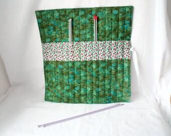 knitting organizer, knitting needle roll, knitting needle holder, needle storage,  green cotton fabric