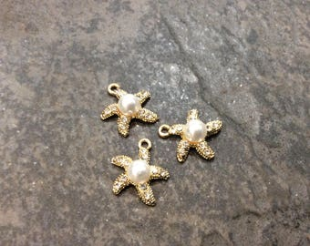 SALE Gold Starfish charms with Pearl and Rhinestone detail Package of 3 charms Beautiful Quality Perfect for Adjustable bangles