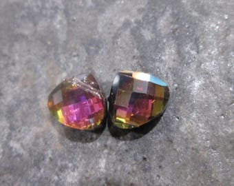 DOLLAR DAYS Faceted Crystal Briolettes in Fuchsia Black combo with Aurora Borealis Finish 10mm briolettes Package of 2